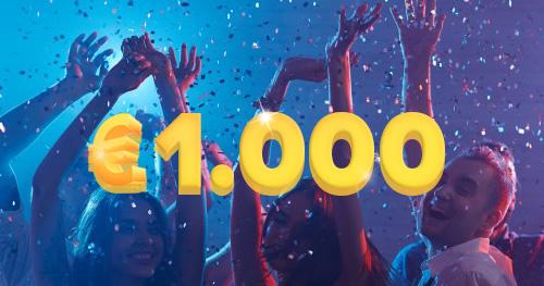 duizend euro met feestende mensen