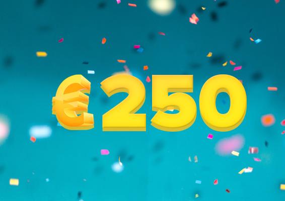 tweehonderdvijftig euro met confetti