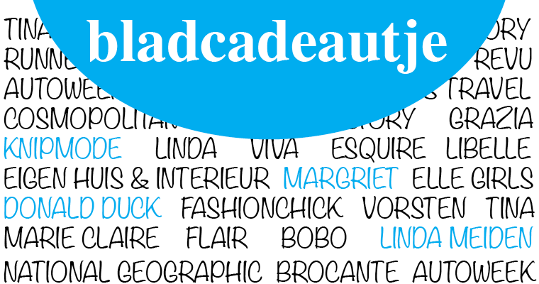 bladcadeaubon met titels van diverse tijdschriften in achtergrond