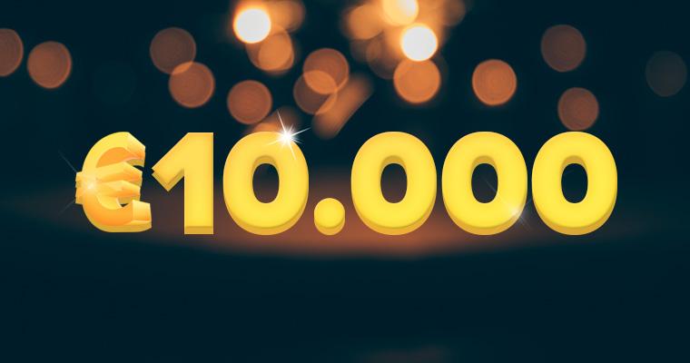tienduizend euro met gouden glitter